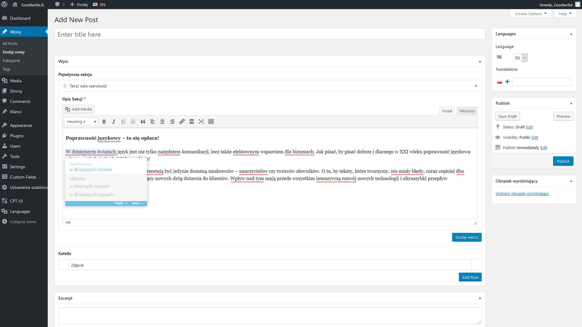 Sprawdzanie pisowni w edytorze WordPress
